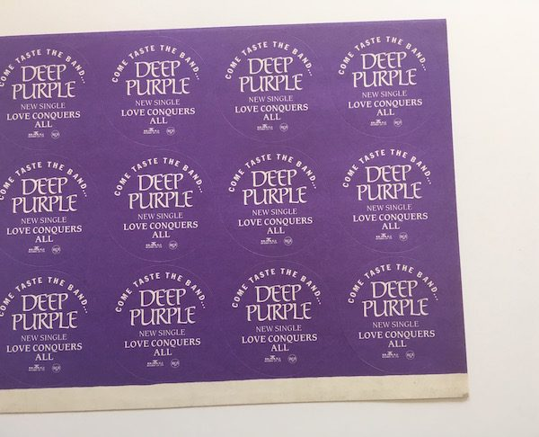 Deep Purple Unused Sticker Sheet For The Single Love Conquers All