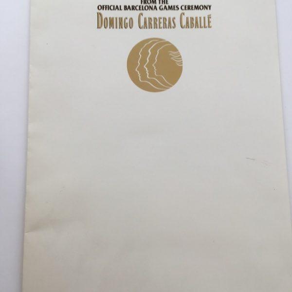 Domingo Carreras Caballe Press Folder For Barcelona Games
