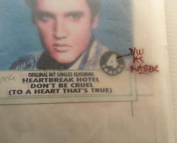 Elvis Presley The Original Artwork for the 3 inch 4 track CD HEARTBREAK HOTEL