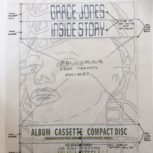 Grace Jones Original Master Artwork for INSIDE STORY Face Ad.