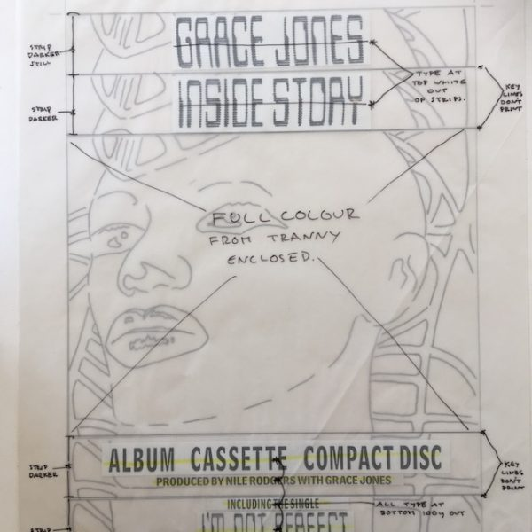 Grace Jones Original Master Artwork for INSIDE STORY Face Ad.