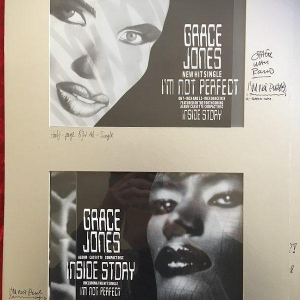 Grace Jones The Original Final Presentation Artwork for I'm Not Perfect ads