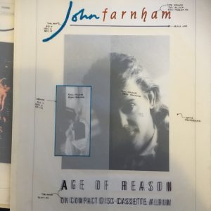 John Farnham Original Artwork Age Of Reason Advert