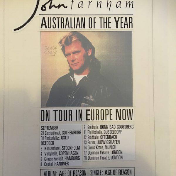 John Farnham Original MasterArtwork For European Tour Advert