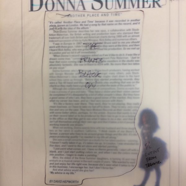 Donna Summer Another Place and Time Original Production Artwork 1989