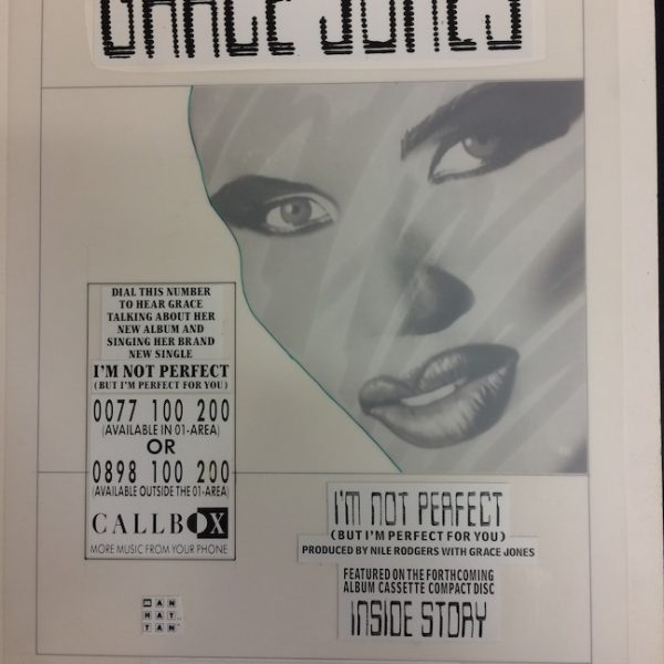 Grace Jones Original Master Artwork for Im Not Perfect Ad.