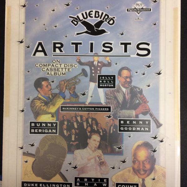 JAZZ ARTISTS SUPER RARE ORIGINAL ARTWORK The Original production Artwork for Bluebird Artists album promotional poster. The album included JELLY ROLL MORTON BENNY GOODMAN, BUNNY BERIGAN , DUKE ELLINGTON, COUNT B