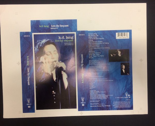 K D Lang Original Proof Artwork for Live by Request VHS Cover