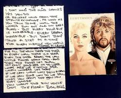 Eurythmics Dave Stewart hand Written lyrics