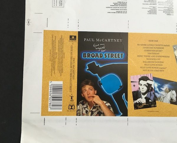 Paul mCCartney Give my regards to Broad Street an original album cover proof artwork for the Cassette