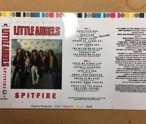 Little Angels Spitfire an extremely rare cromalin proof for the album artwork on cassette