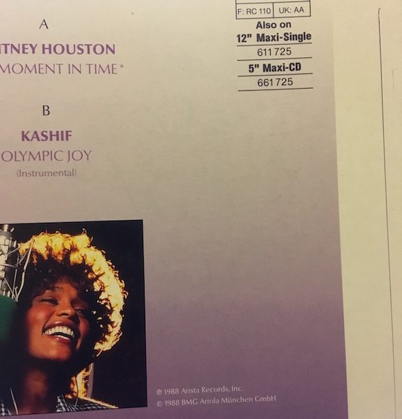 Whitney Houston Original Acetate and Unreleased Proof Cover for 7 inch Single One Moment in Time