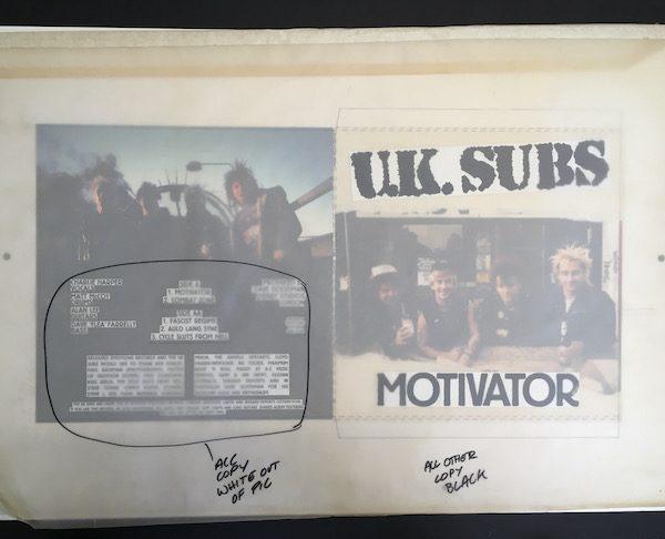 UK Subs Motivator E.P. Original Album Cover Artwork