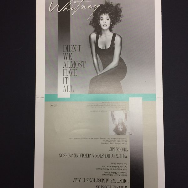 Whitney Houston Original single cover artwork proof for didn't we almost have it all