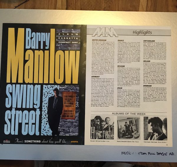 Barry Manilow, Original Production Album Artwork For Swing Street Music and Media Ad