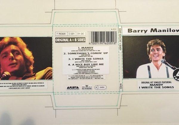Barry Manilow The Original Cover Artwork for Mandy CD