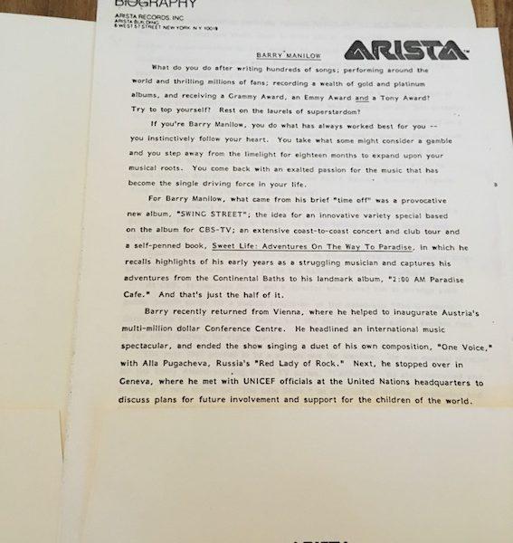 Barry Manilow Swing Street Early prototype press folder