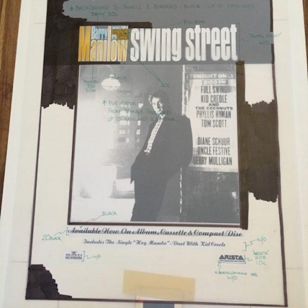 Barry Manilow Original album Artwork for Swing Street ad