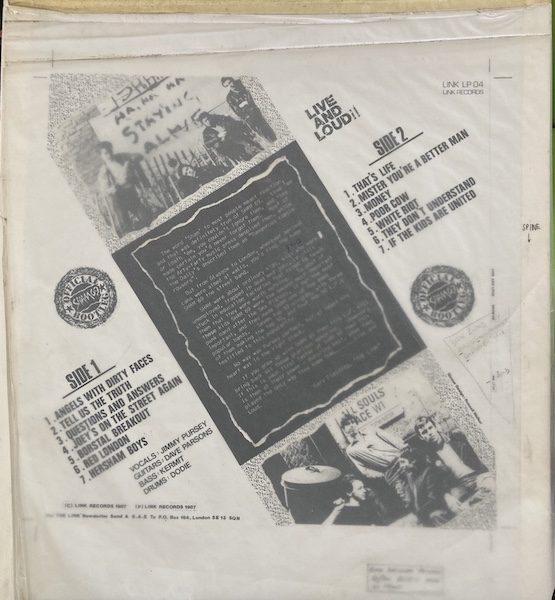 SHAM 69 Original Album Cover Artwork for Live and Loud